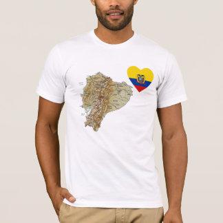 Coeur de drapeau de l'Equateur et T-shirt de carte