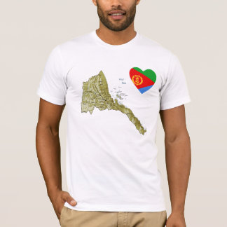 Coeur de drapeau de l'Érythrée et T-shirt de carte