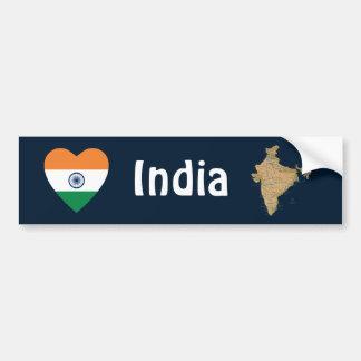 Coeur de drapeau de l'Inde + Adhésif pour pare-cho Adhésif Pour Voiture