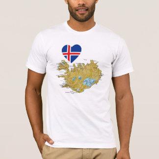 Coeur de drapeau de l'Islande et T-shirt de carte