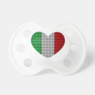 Coeur de drapeau de l'Italie Tétine