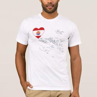 Coeur de drapeau de Polynésie française et T-shirt