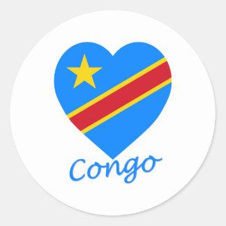 Coeur de drapeau de République Democratic du Congo Autocollants