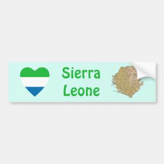 Coeur de drapeau de Sierra Leone + Adhésif pour Autocollant Pour Voiture