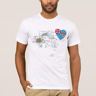 Coeur de drapeau des Fidji et T-shirt de carte