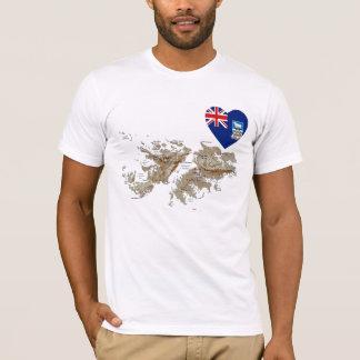 Coeur de drapeau des Îles Falkland et T-shirt de