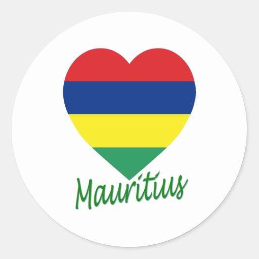 Coeur de drapeau des Îles Maurice Autocollants Ronds