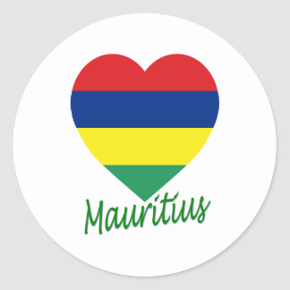 Coeur de drapeau des Îles Maurice Autocollants