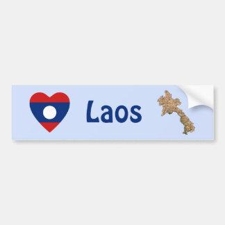 Coeur de drapeau des Laotiens + Adhésif pour pare- Autocollants Pour Voiture
