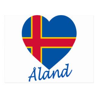 Coeur de drapeau d'îles d'Aland Carte Postale
