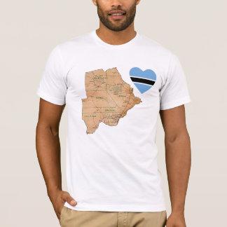 Coeur de drapeau du Botswana et T-shirt de carte