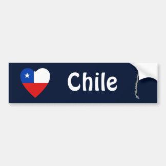 Coeur de drapeau du Chili + Adhésif pour Autocollant De Voiture