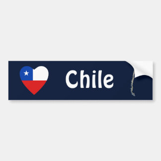 Coeur de drapeau du Chili + Adhésif pour pare-choc Adhésif Pour Voiture