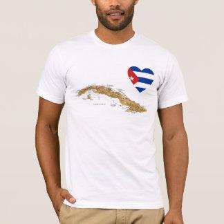 Coeur de drapeau du Cuba + T-shirt de carte
