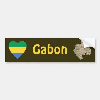 Coeur de drapeau du Gabon + Adhésif pour pare-choc Autocollant Pour Voiture