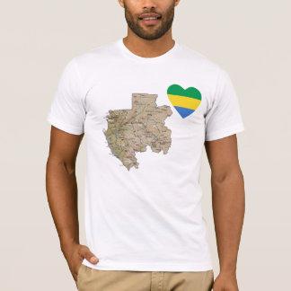Coeur de drapeau du Gabon et T-shirt de carte