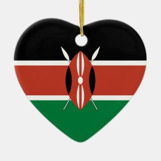 Coeur de drapeau du Kenya Ornement Cœur En Céramique