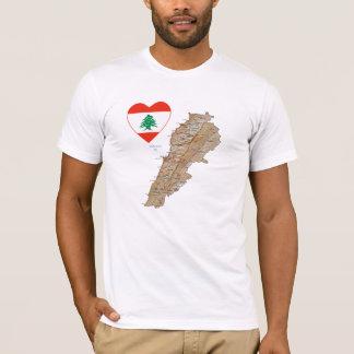 Coeur de drapeau du Liban et T-shirt de carte