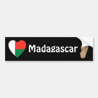 Coeur de drapeau du Madagascar + Adhésif pour pare Autocollant De Voiture