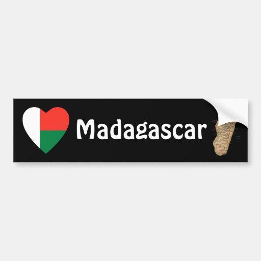 Coeur de drapeau du Madagascar + Adhésif pour pare Adhésifs Pour Voiture