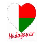 Coeur de drapeau du Madagascar Cartes Postales