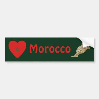 Coeur de drapeau du Maroc + Adhésif pour pare-choc Adhésif Pour Voiture