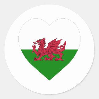 Coeur de drapeau du Pays de Galles Adhésif Rond