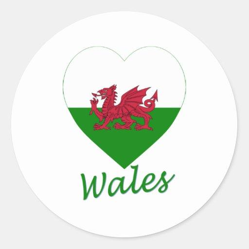 Coeur de drapeau du Pays de Galles Autocollant Rond