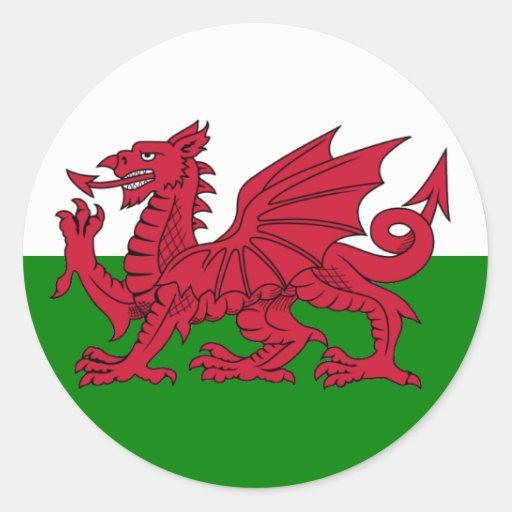 Coeur de drapeau du Pays de Galles Autocollants Ronds