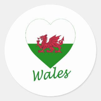 Coeur de drapeau du Pays de Galles Autocollants