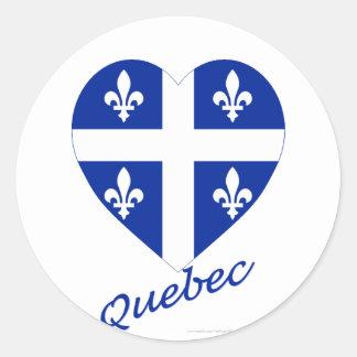 Coeur de drapeau du Québec avec le nom Adhésif