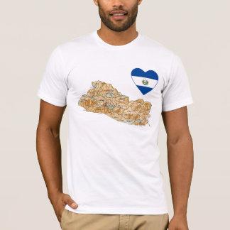 Coeur de drapeau du Salvador et T-shirt de carte