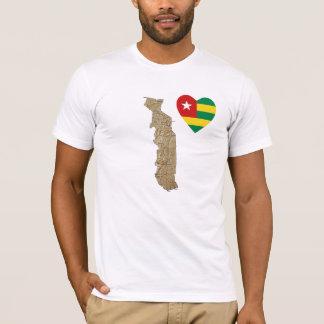 Coeur de drapeau du Togo et T-shirt de carte