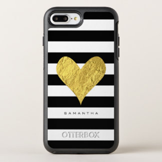 Coeur de feuille d'or coque otterbox symmetry pour iPhone 7 plus