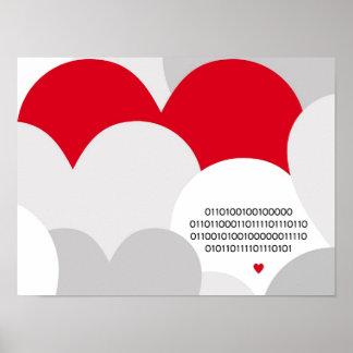 Coeur de geek d'affiche de code binaire je t'aime affiche