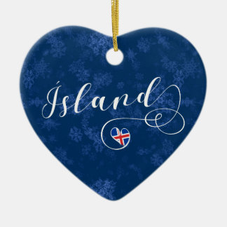Coeur de Ísland Islande, ornement d'arbre de Noël