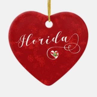 Coeur de la Floride, ornement d'arbre de Noël, de