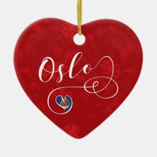 Coeur de la Norvège Oslo, ornement d'arbre de Noël