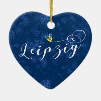 Coeur de Leipzig, ornement d'arbre de Noël,