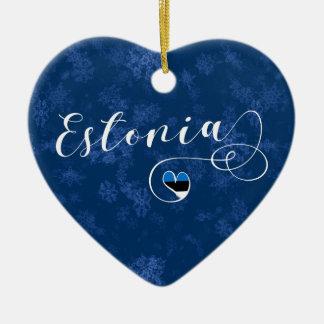 Coeur de l'Estonie, ornement d'arbre de Noël,
