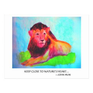 Coeur de lion - conservation John Muir d'animal Carte Postale