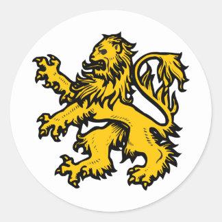 Coeur de lion sticker rond