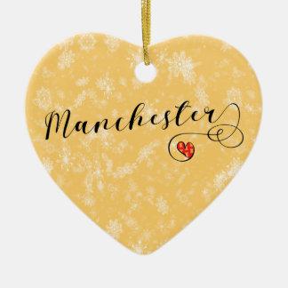 Coeur de Manchester, ornement d'arbre de Noël
