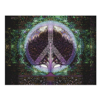 Coeur de mandala d'arbre de paix carte postale