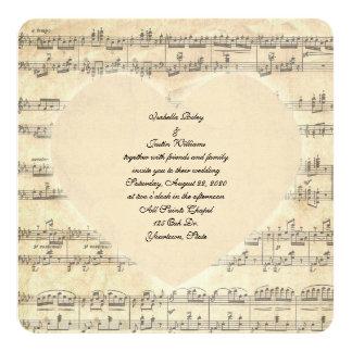 coeur de mariage de sépia sur la musique carton d'invitation  13,33 cm
