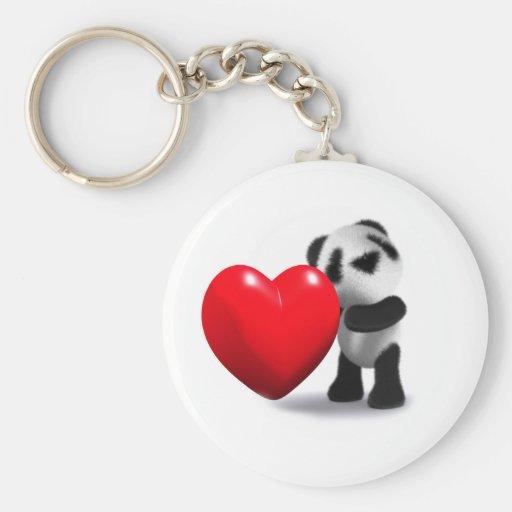 coeur de panda du bébé 3d porte-clés