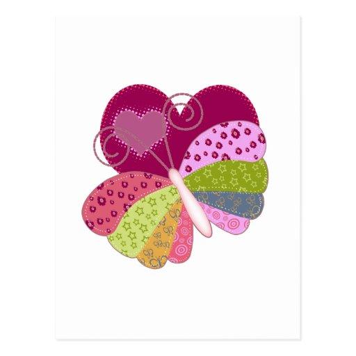 Coeur de papillon de patchwork carte postale   Zazzle