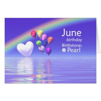 Coeur de perle d'anniversaire de juin cartes