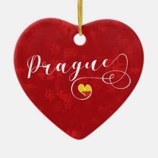 Coeur de Prague, ornement d'arbre de Noël, tchèque