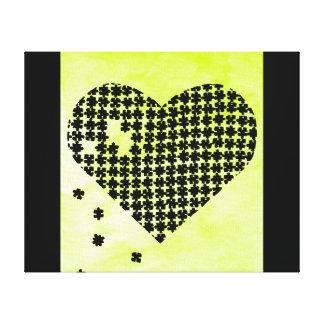 Coeur de puzzle de vert de chaux impressions sur toile